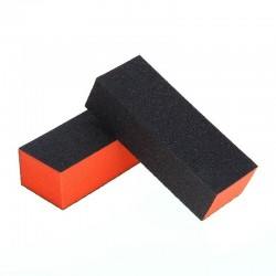 Block for processing the nail plate, flat, orange / black, 1pc.